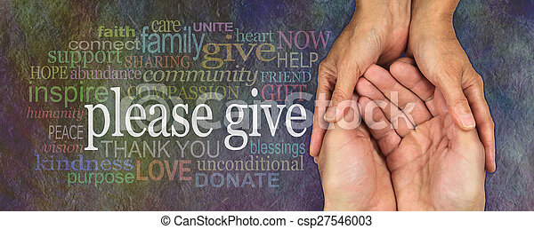 Por favor, den generosamente - csp27546003