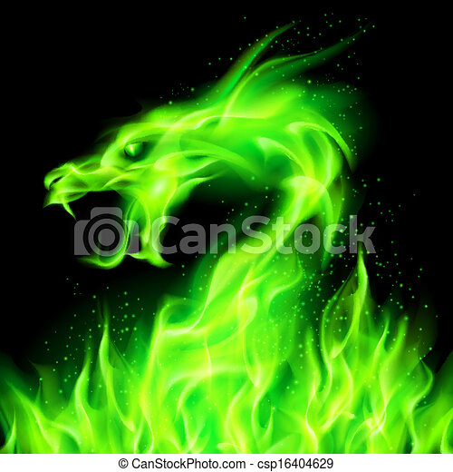 Eld, dragon. Huvud, eld, drake, bakgrund., svart, grön.