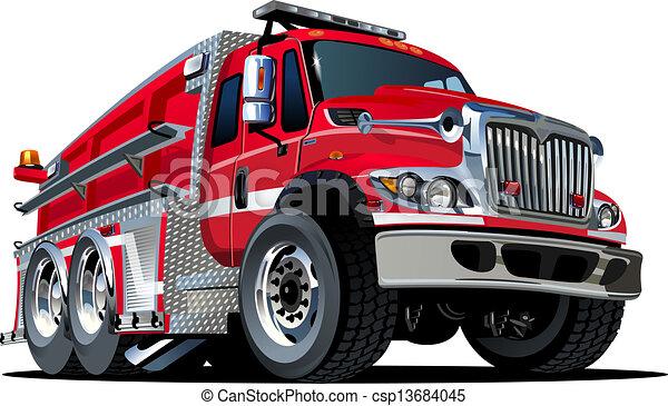 eld, vektor, lastbil, tecknad film - csp13684045