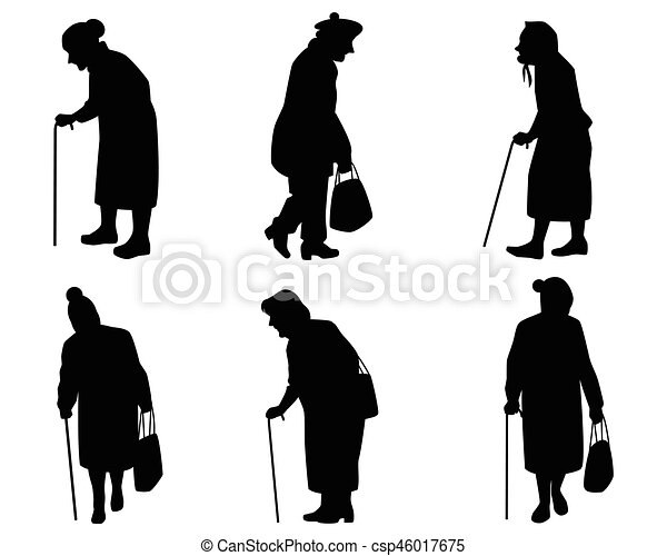 Elder Women Silhouettes Vector Illustration Of A Six Elder Women