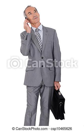 elderly businessman on white background - csp10465626