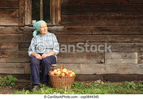 Elderly countrywoman - csp0844345