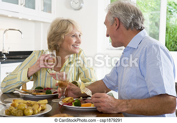 Elderly Couple Enjoying meal,mealtime Together - csp1879291