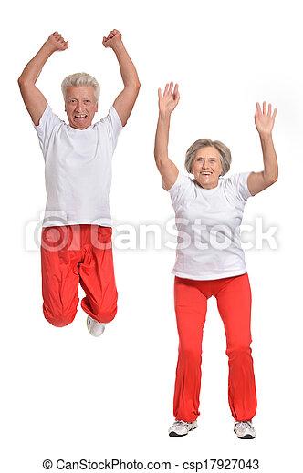 Elderly couple exercising - csp17927043