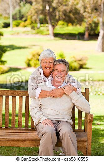 Elderly couple in the park - csp5810555