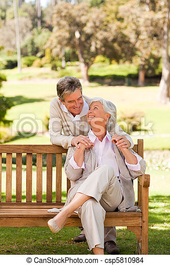 Elderly couple in the park - csp5810984