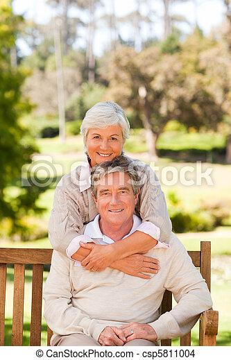 Elderly couple in the park - csp5811004