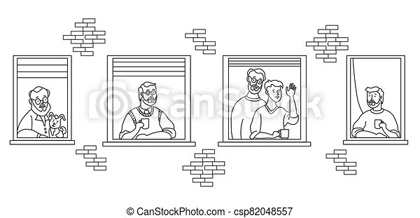 elderly couple looking for a house. windows with people neighbors. The men are old and young. Family - he and he, with a dog, with a cup, with a beard, waved his hand. Self-isolation, quarantine. Outline drawing - csp82048557