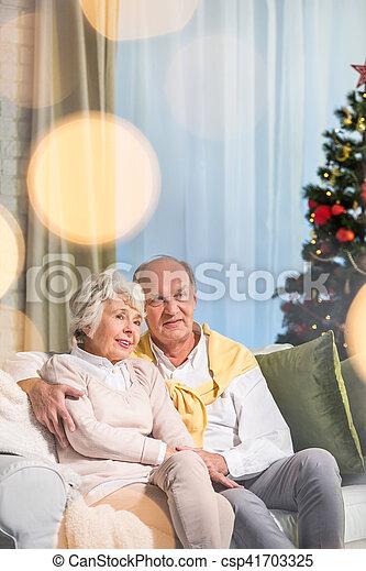 Elderly couple near christmas tree - csp41703325