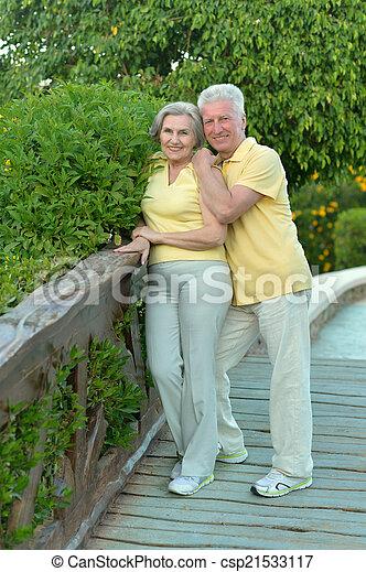 Elderly couple on the walk - csp21533117