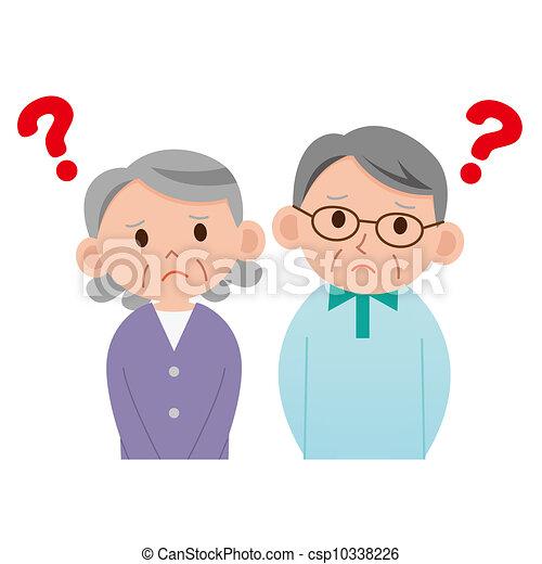 Elderly couple who thinks - csp10338226