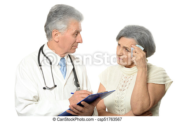 Elderly doctor with a patient - csp51763567