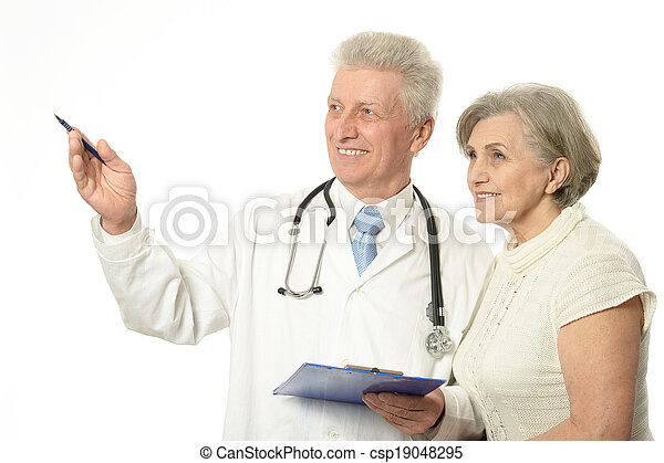 Elderly doctor with a patient - csp19048295