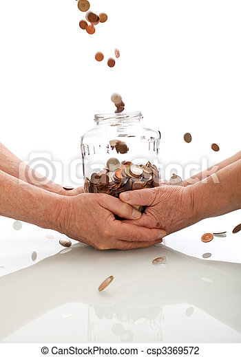 Elderly hands holding jar catching falling coins - csp3369572