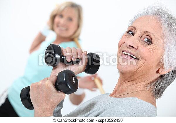 Elderly ladies in gym - csp10522430