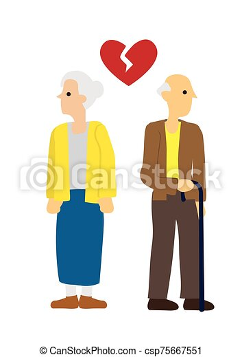 Elderly Man and woman couple with broken heart. Concept of divorce, disagreement or separation - csp75667551