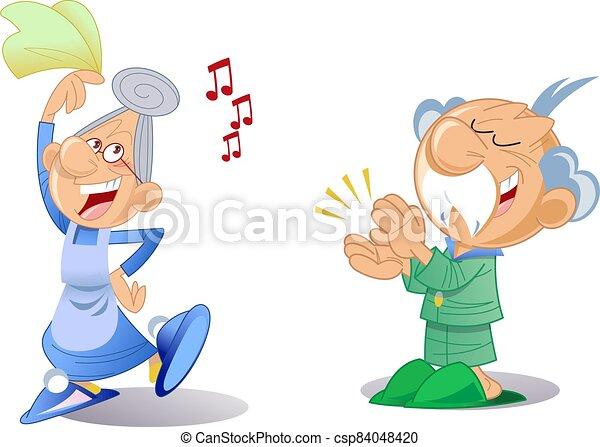 Elderly man and woman dance - csp84048420