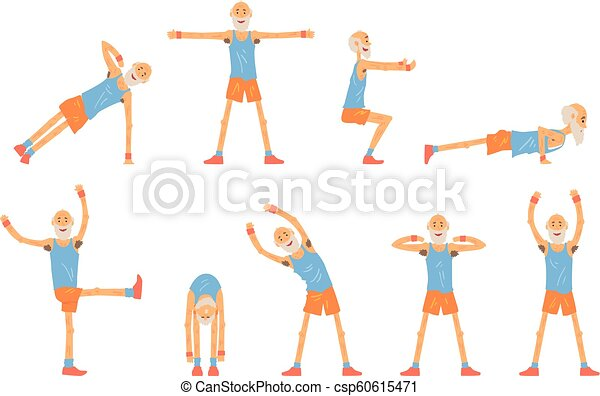 Elderly man character exercising set, healthy active lifestyle retiree, elder fitness vector Illustrations - csp60615471