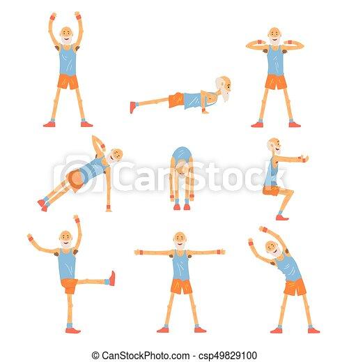 Elderly man character exercising set, healthy active lifestyle retiree, elder fitness vector Illustrations - csp49829100