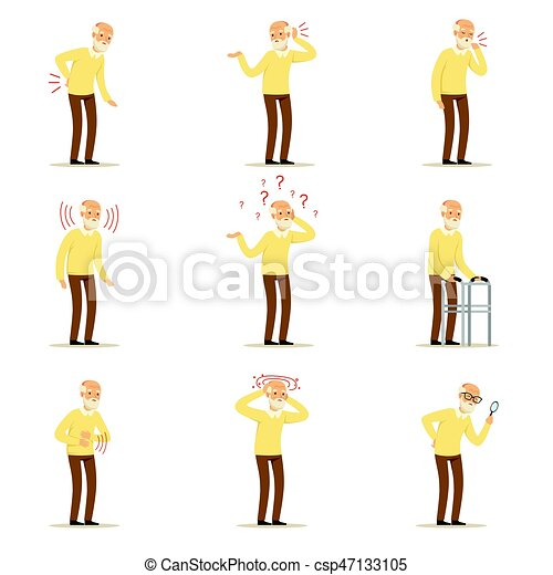 Elderly man diseases, pain problem in back, neck, arm, heart, knee and head. Senior health set of colorful cartoon characters detailed vector Illustrations - csp47133105