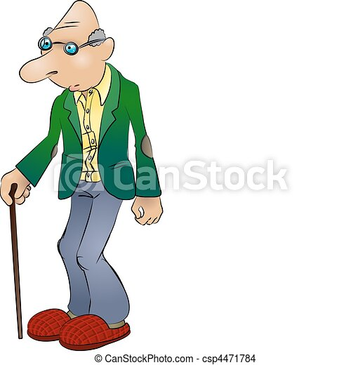 elderly man illustration - csp4471784