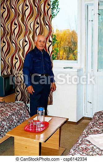 elderly man in the room - csp6142334