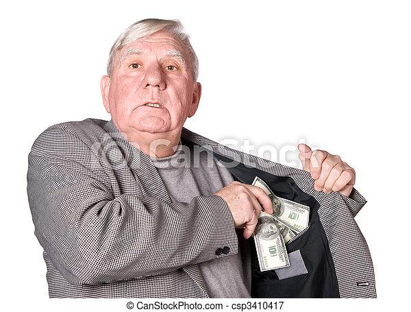 Elderly man puts money in an internal pocket of a jacket - csp3410417