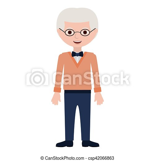 elderly man with bowtie and glasses - csp42066863