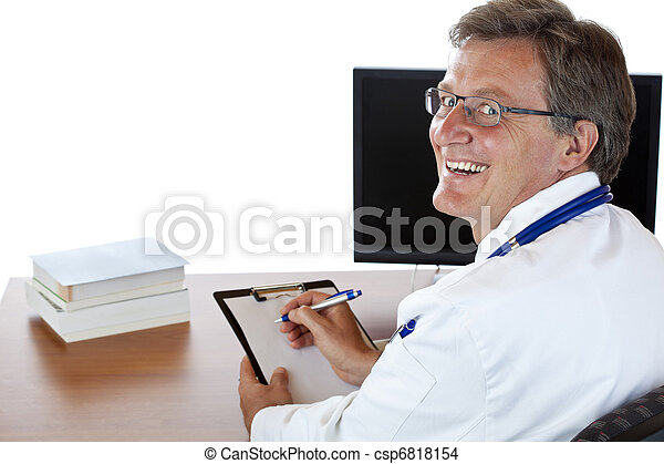 Elderly smiling doctor sits at his desk and writes medical history - csp6818154