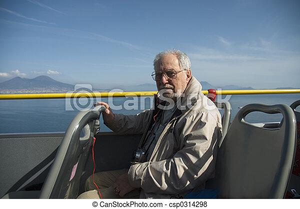 Elderly tourist in Naples - csp0314298