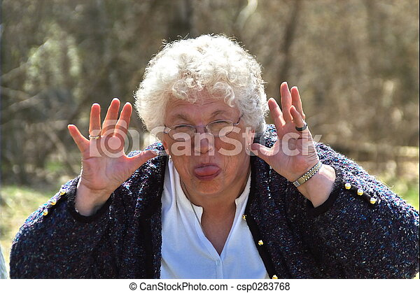 elderly woman acting silly - csp0283768
