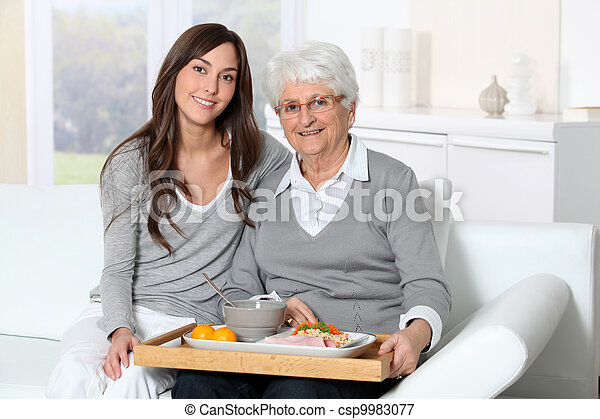 Elderly woman and home carer sitting in sofa with lunch tray  - csp9983077