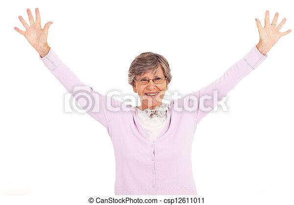 elderly woman arms open - csp12611011