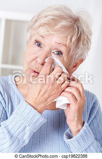 Elderly woman crying - csp19822388