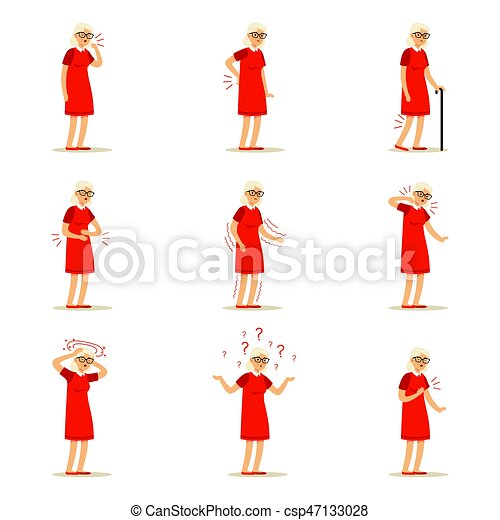 Elderly woman diseases, pain problem in back, neck, arm, heart, knee and head. Senior health set of colorful cartoon characters detailed vector Illustrations - csp47133028