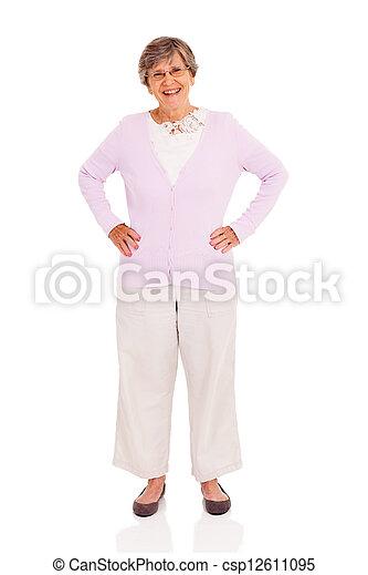 elderly woman full length portrait  - csp12611095
