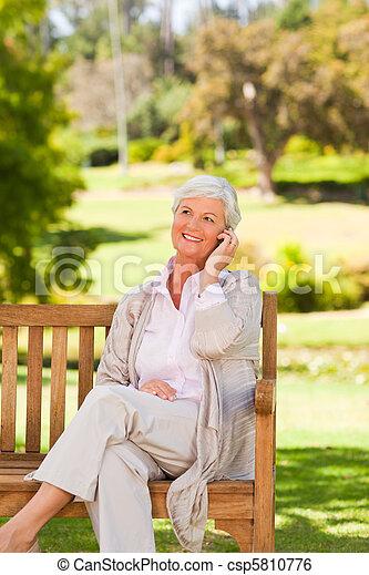 Elderly woman in the park - csp5810776