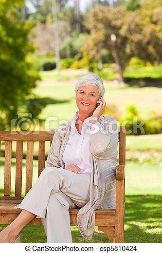 Elderly woman in the park - csp5810424