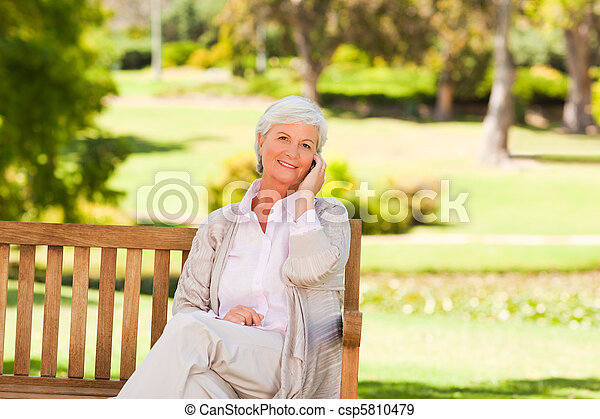 Elderly woman in the park - csp5810479