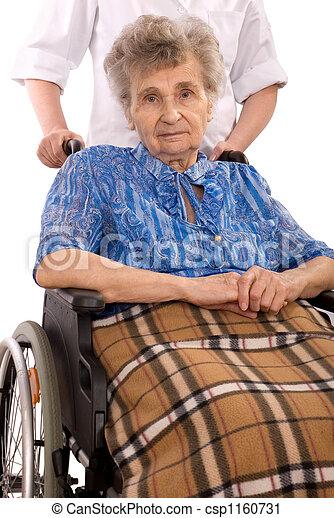 elderly woman in wheelchair - csp1160731