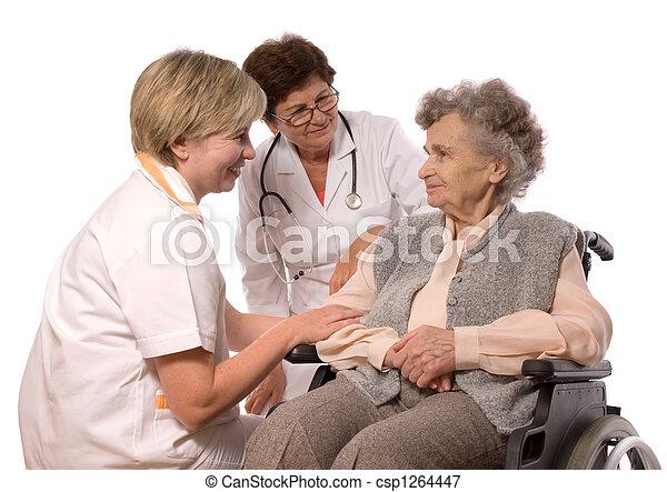 elderly woman in wheelchair - csp1264447