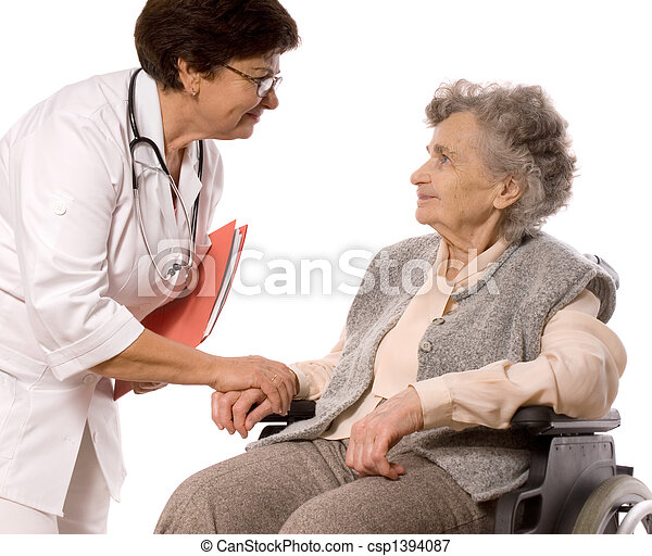 elderly woman in wheelchair - csp1394087