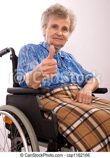 elderly woman in wheelchair - csp1162166