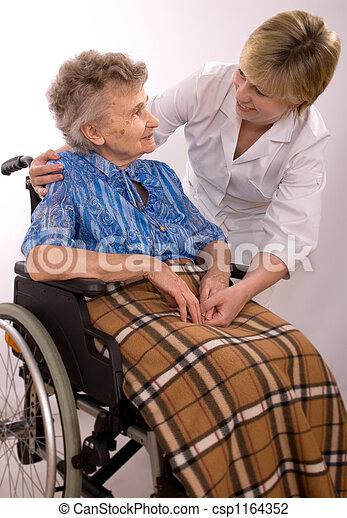 elderly woman in wheelchair - csp1164352