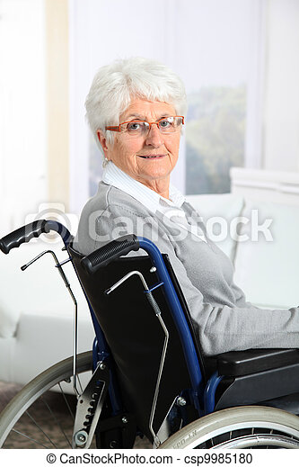 Elderly woman in wheelchair - csp9985180