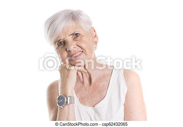 elderly woman on studio white background - csp62432065