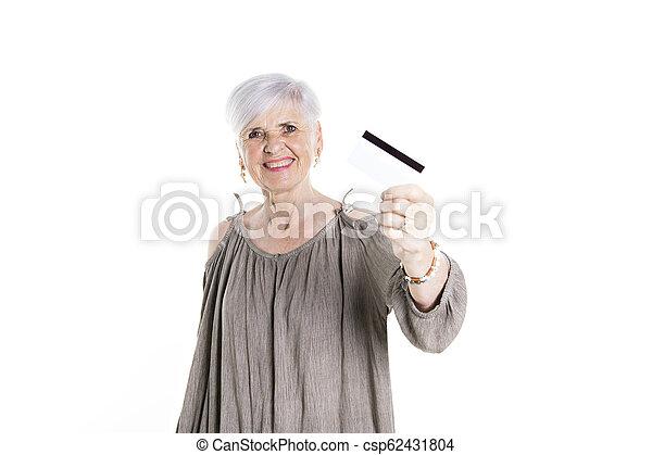 elderly woman on studio white background - csp62431804