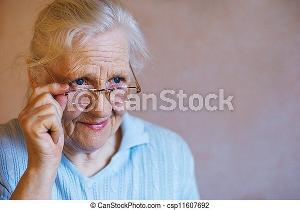Elderly woman with glasses - csp11607692