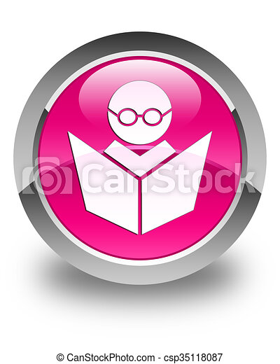 Elearning icon glossy pink round button - csp35118087