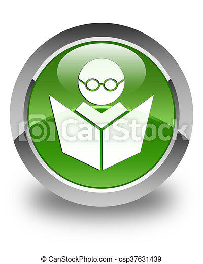 Elearning icon glossy soft green round button - csp37631439